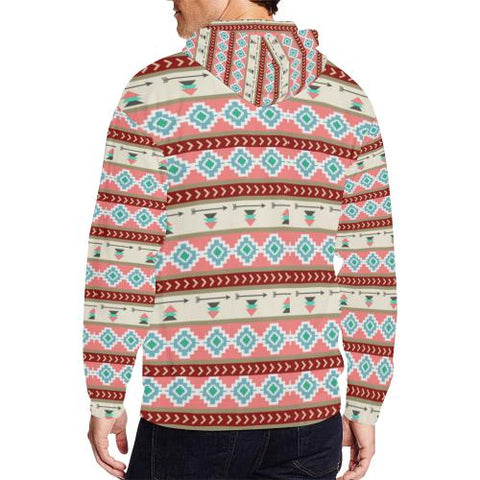 Image of Pattern Design 14 Men's All Over Print Full Zip Hoodie (Model H14)-All-over Hoodies-JEFAMO