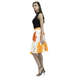 Pattern Design 2 Women's Pleated Midi Skirt (Model D15)