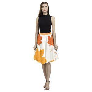 Pattern Design 2 Women's Pleated Midi Skirt (Model D15)-Skirts-JEFAMO