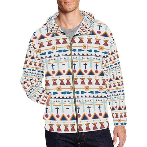 Image of Pattern Design 3 Men's All Over Print Full Zip Hoodie (Model H14)-All-over Hoodies-JEFAMO