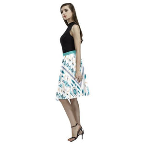Pattern Design 4 Women's Pleated Midi Skirt (Model D15)