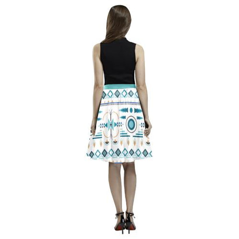Pattern Design 4 Women's Pleated Midi Skirt (Model D15)-Skirts-JEFAMO