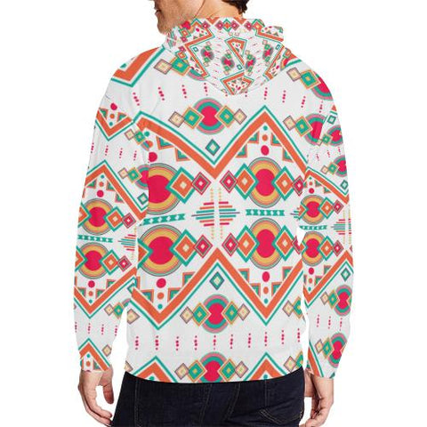Pattern Design 7 Men's All Over Print Full Zip Hoodie (Model H14)-All-over Hoodies-JEFAMO
