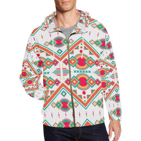 Image of Pattern Design 7 Men's All Over Print Full Zip Hoodie (Model H14)-All-over Hoodies-JEFAMO