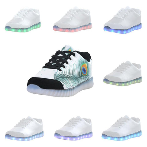 Peacock Feathers Design 2 Light Up Casual Men's Shoes-Light Up Shoes-JEFAMO