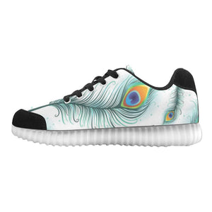 Peacock Feathers Design 2 Light Up Casual Women's Shoes