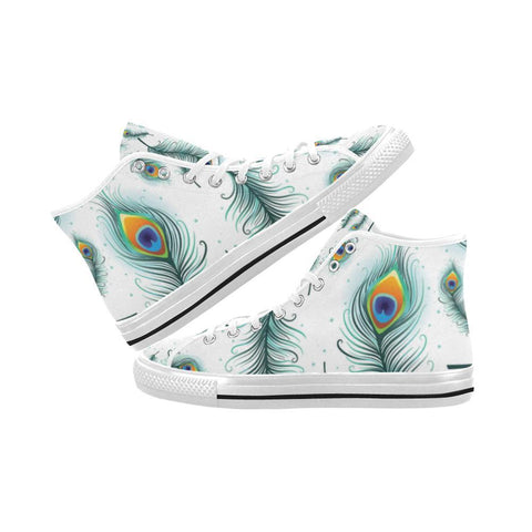 Image of Peacock Feathers Design 2 Vancouver High Top Canvas Men's Shoes-Canvas Shoes-JEFAMO