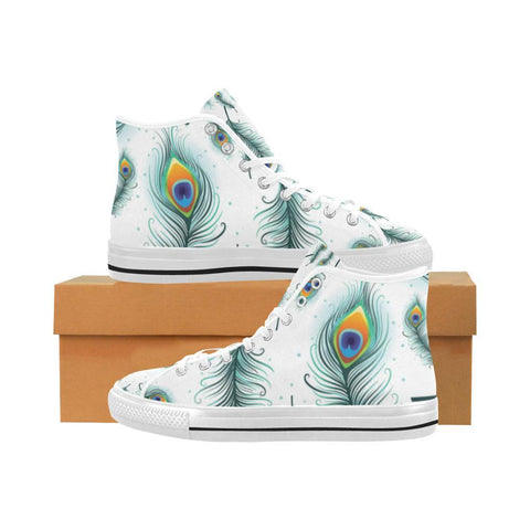 Peacock Feathers Design 2 Vancouver High Top Canvas Men's Shoes-Canvas Shoes-JEFAMO