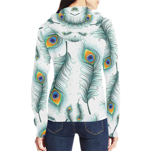 Peacock Feathers Design 2 Women's All Over Print Full Zip Hoodie