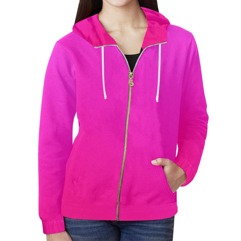 Pink Design 2 Women's All Over Print Full Zip Hoodie-Hoodies-JEFAMO