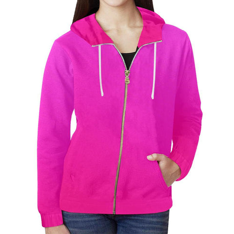 Image of Pink Design 2 Women's All Over Print Full Zip Hoodie-Hoodies-JEFAMO