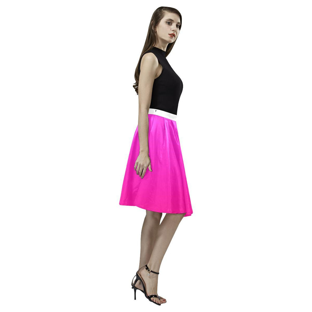 Pink Design 2 Women's Pleated Midi Skirt-Skirts-JEFAMO