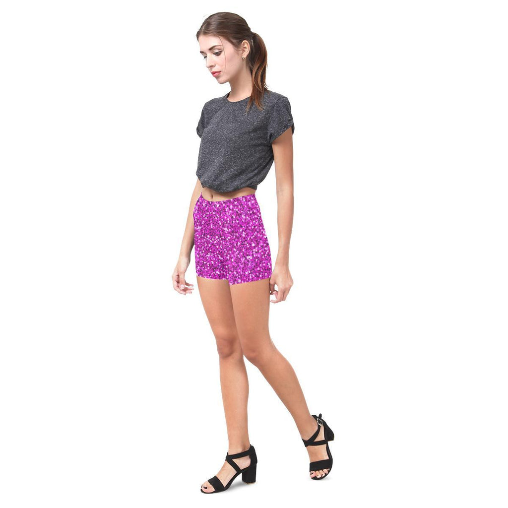 Pink Glitter All-Over Skinny Shorts-Leggings-JEFAMO