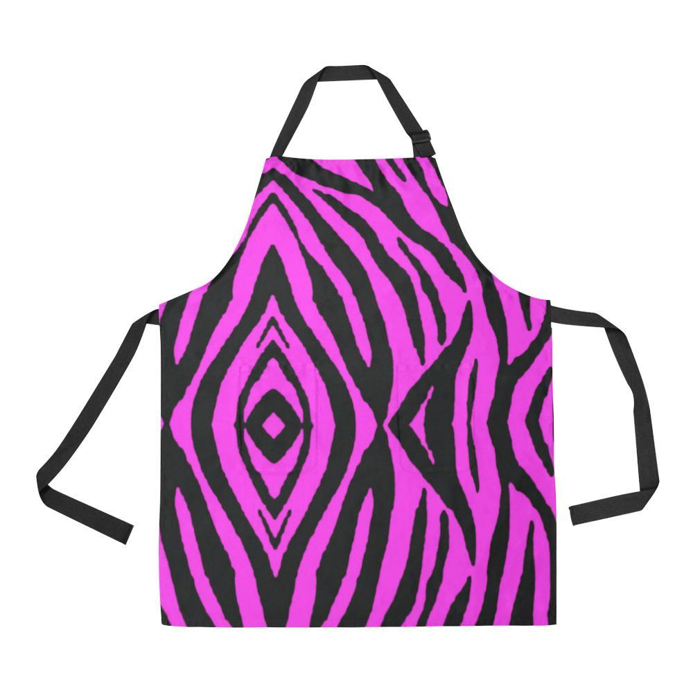 Pink Stripes Design 1 All Over Print Adjustable Apron-Aprons-JEFAMO
