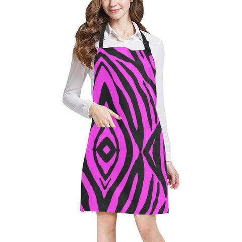 Image of Pink Stripes Design 1 All Over Print Adjustable Apron-Aprons-JEFAMO