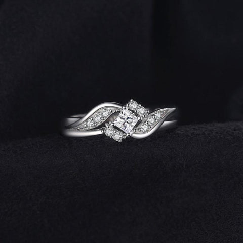 Image of Princess-Cut Cubic Zirconia Ring 925 Sterling Silver-JP_RINGS-JEFAMO