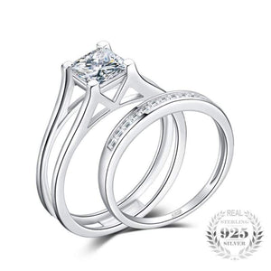 Princess Cut Solitaire Ring Set 925 Sterling Silver-JP_RINGS-JEFAMO