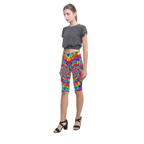 Psycadelic Patterns 1 All-Over Cropped Leggings (Model L03)-Leggings-JEFAMO