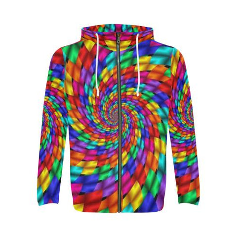 Image of Psycadelic Patterns 1 Men's All Over Print Full Zip Hoodie (Model H14)-All-over Hoodies-JEFAMO