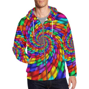 Psycadelic Patterns 1 Men's All Over Print Full Zip Hoodie (Model H14)-All-over Hoodies-JEFAMO