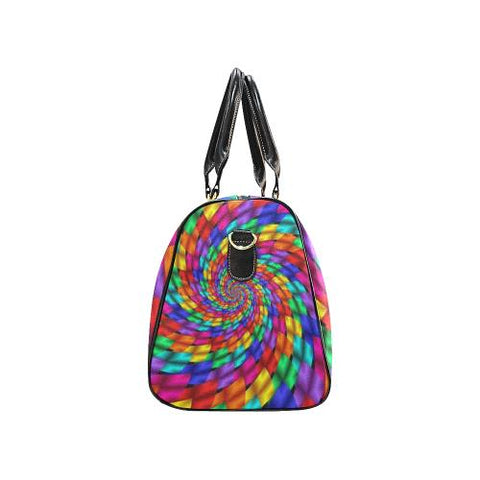 Psycadelic Patterns 1 Travel Bag Black (Small) (Model1639)-Travel Bags-JEFAMO