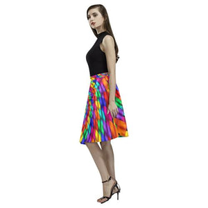 Psycadelic Patterns 1 Women's Pleated Midi Skirt (Model D15)