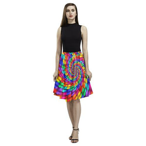 Psycadelic Patterns 1 Women's Pleated Midi Skirt (Model D15)-Skirts-JEFAMO