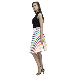 Psycadelic Patterns 10 Women's Pleated Midi Skirt (Model D15)