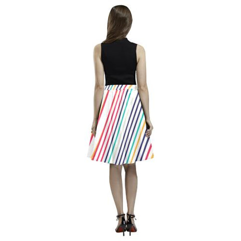 Psycadelic Patterns 10 Women's Pleated Midi Skirt (Model D15)-Skirts-JEFAMO