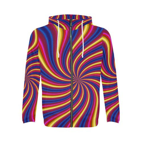 Psycadelic Patterns 2 Men's All Over Print Full Zip Hoodie (Model H14)-All-over Hoodies-JEFAMO