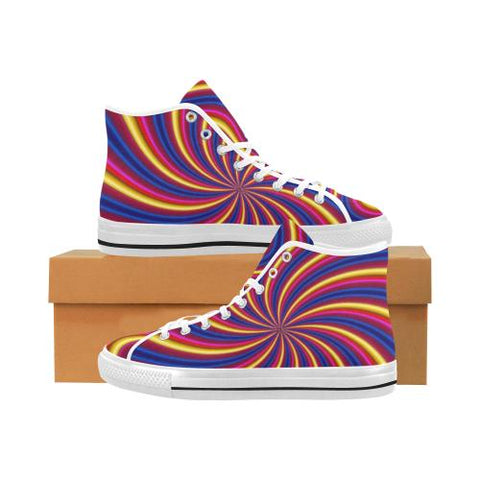 Image of Psycadelic Patterns 2 Vancouver High Top Canvas Men's Shoes (Model1013-1)-Canvas Shoes-JEFAMO