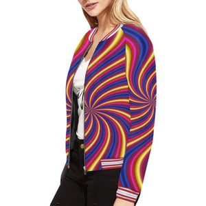 Psycadelic Patterns 2 Women's All Over Print Horizontal Stripes Jacket (Model H21)