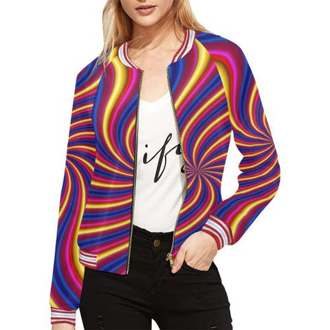 Image of Psycadelic Patterns 2 Women's All Over Print Horizontal Stripes Jacket (Model H21)-Jackets-JEFAMO