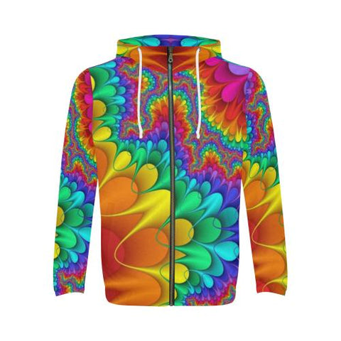 Psycadelic Patterns 3 Men's All Over Print Full Zip Hoodie (Model H14)-All-over Hoodies-JEFAMO