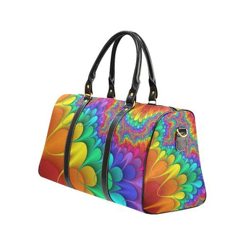 Psycadelic Patterns 3 Travel Bag Black (Small) (Model1639)-Travel Bags-JEFAMO