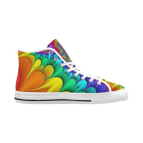 Image of Psycadelic Patterns 3 Vancouver High Top Canvas Men's Shoes (Model1013-1)-Canvas Shoes-JEFAMO