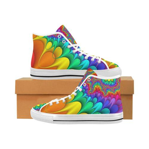 Psycadelic Patterns 3 Vancouver High Top Canvas Men's Shoes (Model1013-1)-Canvas Shoes-JEFAMO