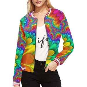 Psycadelic Patterns 3 Women's All Over Print Horizontal Stripes Jacket (Model H21)