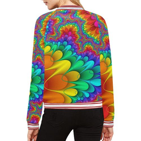 Image of Psycadelic Patterns 3 Women's All Over Print Horizontal Stripes Jacket (Model H21)-Jackets-JEFAMO