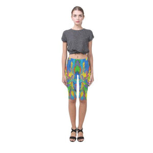 Psycadelic Patterns 4 All-Over Cropped Leggings (Model L03)-Leggings-JEFAMO