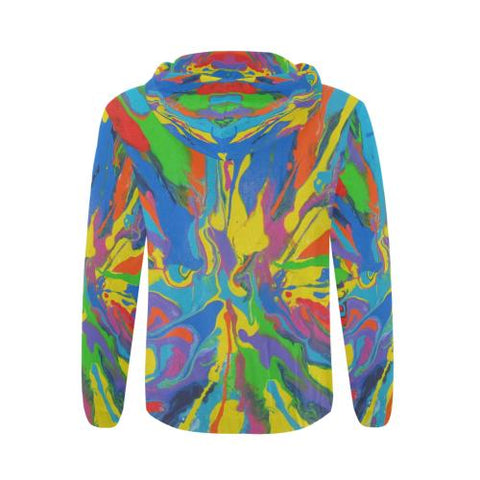 Psycadelic Patterns 4 Men's All Over Print Full Zip Hoodie (Model H14)-All-over Hoodies-JEFAMO
