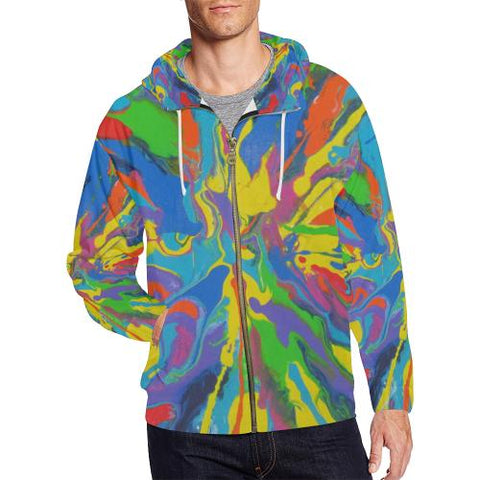Image of Psycadelic Patterns 4 Men's All Over Print Full Zip Hoodie (Model H14)-All-over Hoodies-JEFAMO