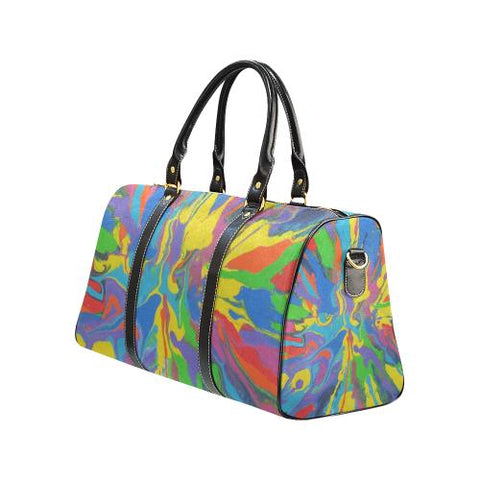 Psycadelic Patterns 4 Travel Bag Black (Small) (Model1639)-Travel Bags-JEFAMO