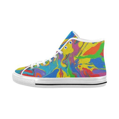 Psycadelic Patterns 4 Vancouver High Top Canvas Men's Shoes (Model1013-1)-Canvas Shoes-JEFAMO