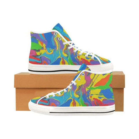 Image of Psycadelic Patterns 4 Vancouver High Top Canvas Women's Shoes (Model1013-1)-Canvas Shoes-JEFAMO
