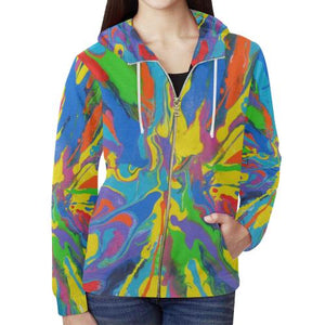 Psycadelic Patterns 4 Women's All Over Print Full Zip Hoodie (Model H14)-All-over Hoodies-JEFAMO