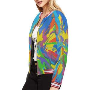 Psycadelic Patterns 4 Women's All Over Print Horizontal Stripes Jacket (Model H21)