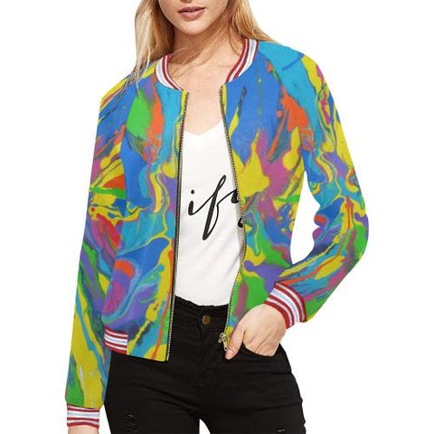 Image of Psycadelic Patterns 4 Women's All Over Print Horizontal Stripes Jacket (Model H21)-Jackets-JEFAMO
