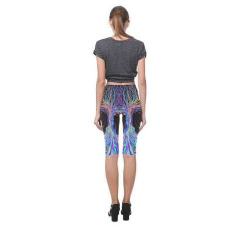 Psycadelic Patterns 5 All-Over Cropped Leggings (Model L03)-Leggings-JEFAMO
