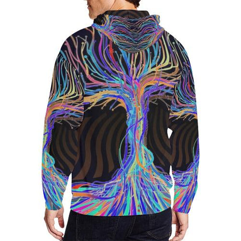 Image of Psycadelic Patterns 5 Men's All Over Print Full Zip Hoodie (Model H14)-All-over Hoodies-JEFAMO